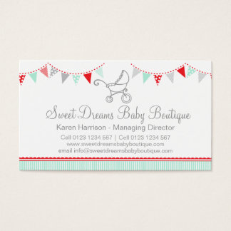 Bunting baby boutique red grey cute business cards