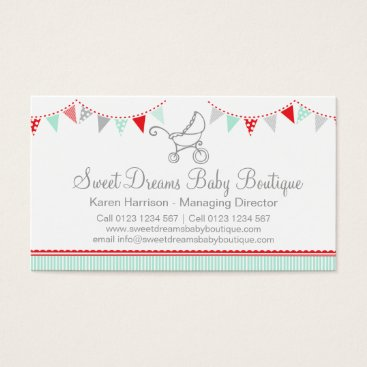 Professional Business Bunting baby boutique red grey cute business cards