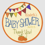 Bunting-Baby Shower Classic Round Sticker