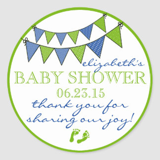 Bunting-Baby Shower Thank You Classic Round Sticker