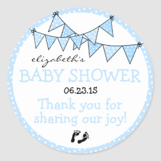 Bunting Blue Polka Dots Baby Shower Thank You Classic Round Sticker