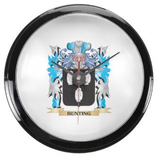 Bunting Coat of Arms Aqua Clocks