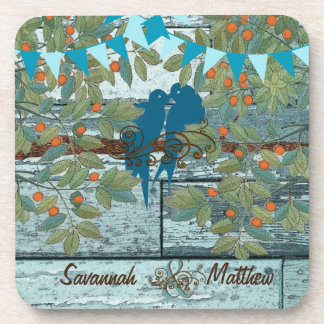 Bunting Country Chic Love Birds Sitting in a Tree Beverage Coaster
