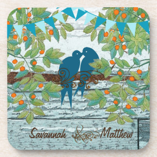 Bunting Country Chic Love Birds Sitting in a Tree Coaster