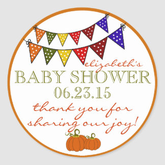Bunting- Fall Baby Shower Thank You Round Sticker