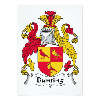 Bunting Family Crest 5x7 Paper Invitation Card