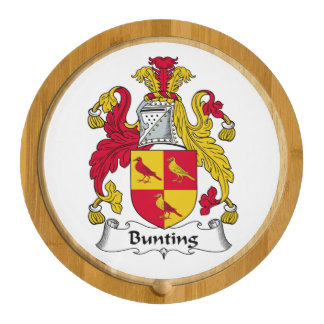 Bunting Family Crest Round Cheeseboard