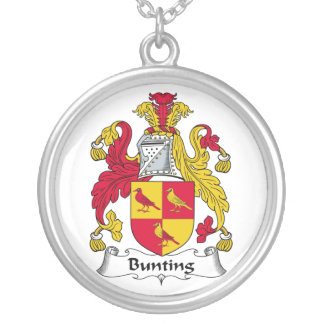 Bunting Family Crest Round Pendant Necklace