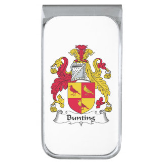 Bunting Family Crest Silver Finish Money Clip