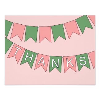 Bunting Flags Pink Thank You Cards
