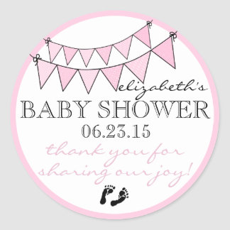 Bunting Flags Vintage Look Baby Shower Pink Classic Round Sticker