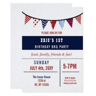 Bunting July 4th Birthday party Invitation