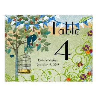 Bunting Love Birds & Bird Cage Wedding Number Card