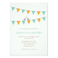 Bunting Love Birds Wedding Invitation Blue Orange
