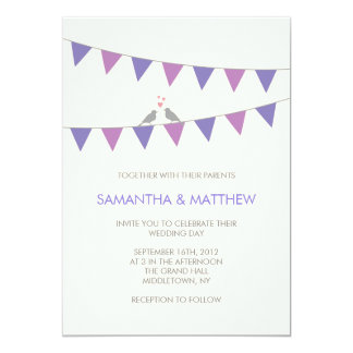Bunting Love Birds Wedding Invitation Purple