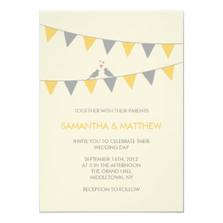 "Bunting Love Birds Wedding Invitation - Yellow 5"" X 7"" Invitation Card"