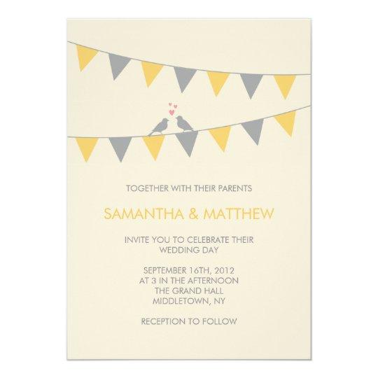 Bunting Wedding Invite: Bunting Love Birds Wedding Invitation - Yellow