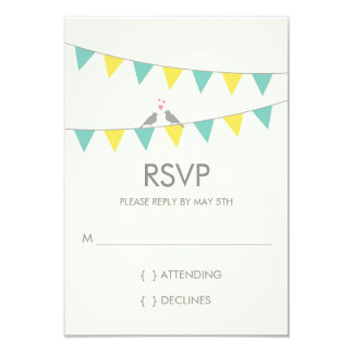 Bunting Love Birds Wedding RSVP - Blue Yellow Card