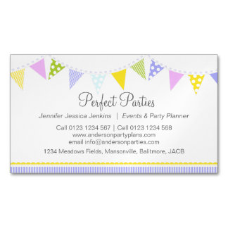 Bunting party event planning business card