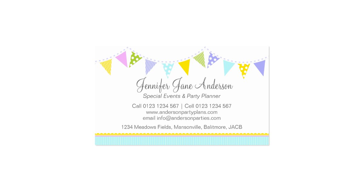 Bunting party events planning business cards zazzle for Party planning business cards