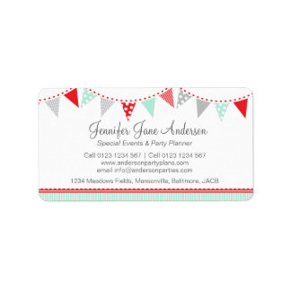 Bunting party events red grey return address label