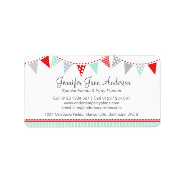 Professional Business Bunting party events red grey return address label