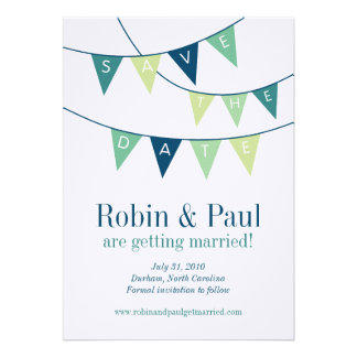 Bunting Save the Date Custom Announcements