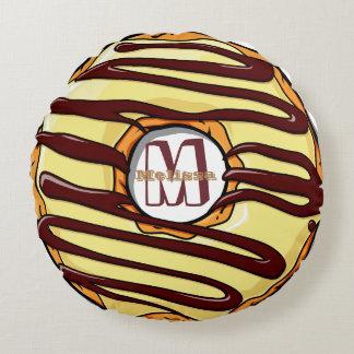 Buñuelo esmaltado del chocolate y de la vainilla cojín redondo