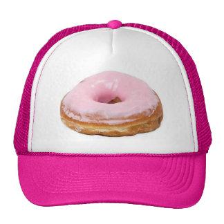 Buñuelo helado rosa de la comida del postre de los gorros bordados