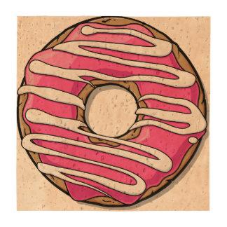 Buñuelo rosado del dibujo animado con la formación posavasos