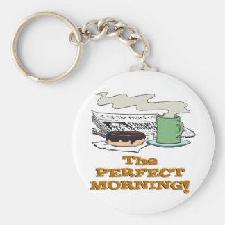 buñuelo y papel perfectos del café de la mañana llavero personalizado