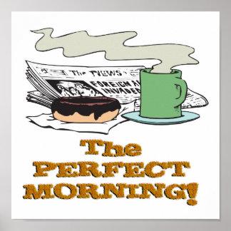 buñuelo y papel perfectos del café de la mañana poster