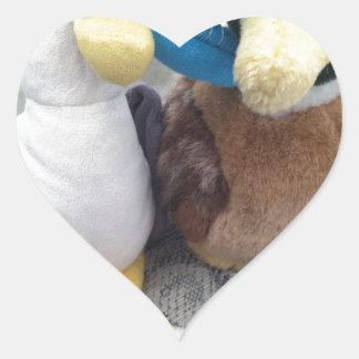 Buñuelo y Tucker Pegatina En Forma De Corazón