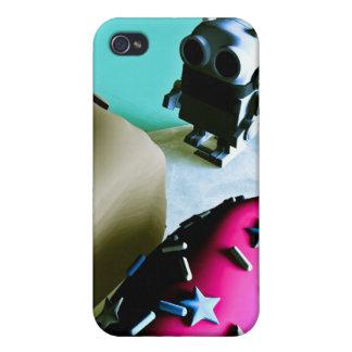 Buñuelos y caja de la mota del robot 02 del juguet iPhone 4 protectores