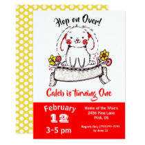 Buny Ink Doodle Red Birthday Invitation