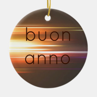 Buon anno Double-Sided ceramic round christmas ornament