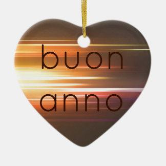 Buon anno Double-Sided heart ceramic christmas ornament