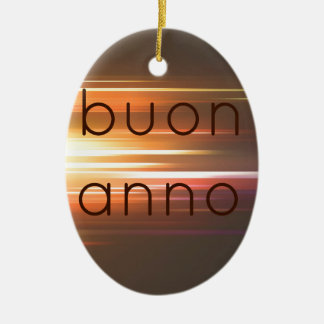 Buon anno Double-Sided oval ceramic christmas ornament