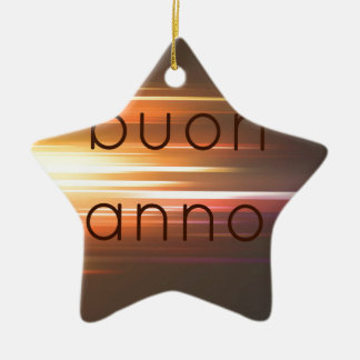 Buon anno Double-Sided star ceramic christmas ornament