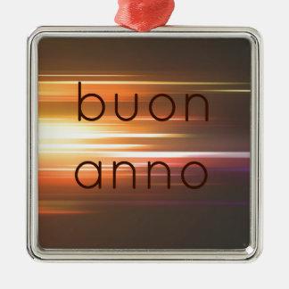 Buon anno square metal christmas ornament