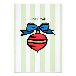 Buon Natale 3.5x5 Linen Red Ornament Invite Green