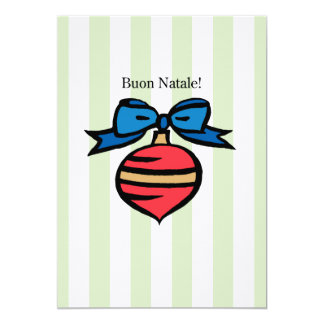 Buon Natale 5x7 Linen Rd Ornament Greeting Card GR