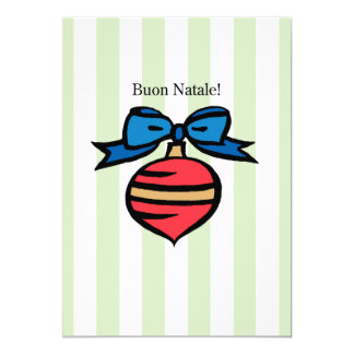 Buon Natale 5x7 Red Ornament Greeting Card Green