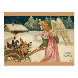 BUON NATALE! ANGEL IN SNOW WITH CART & TOYS POSTCARD