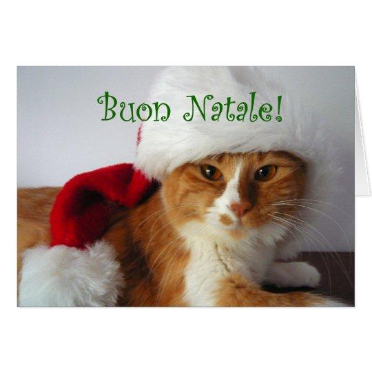 Buon Natale - Cat Wearing Santa Hat Card