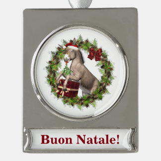 Buon Natale Christmas Donkey Banner Ornament Silver Plated Banner Ornament