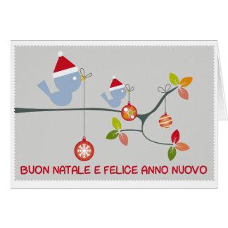 Buon Natale con uccellini e palline Card