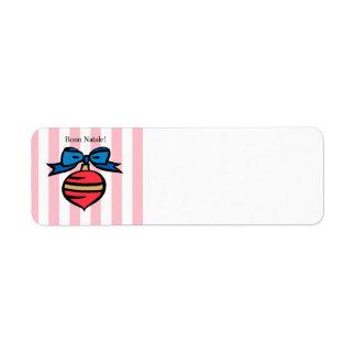 Buon Natale Custom Address Label Pink