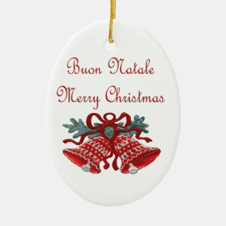 Buon Natale Double-Sided Oval Ceramic Christmas Ornament
