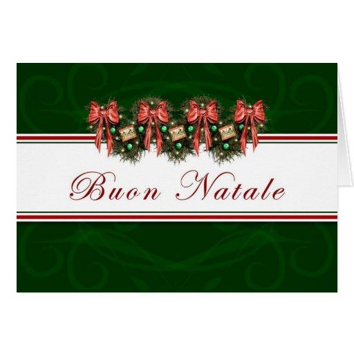 Buon Natale - el rojo italiano de la guirnalda Tarjeta De Felicitación